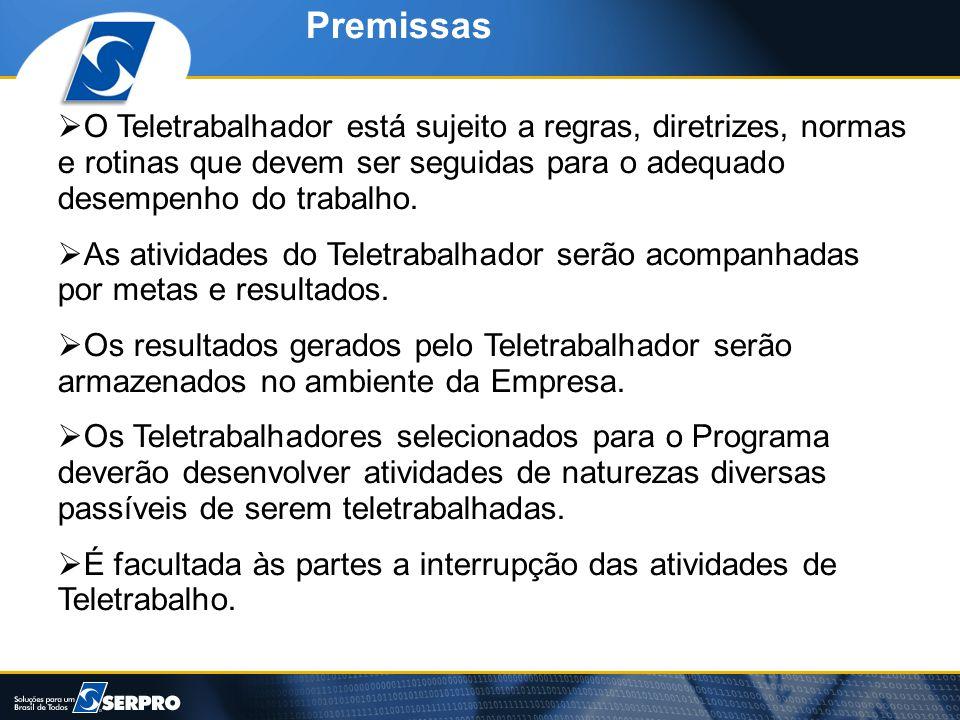 Premissas O Teletrabalhador está sujeito a regras, diretrizes, normas e rotinas que devem ser seguidas para o adequado desempenho do trabalho.