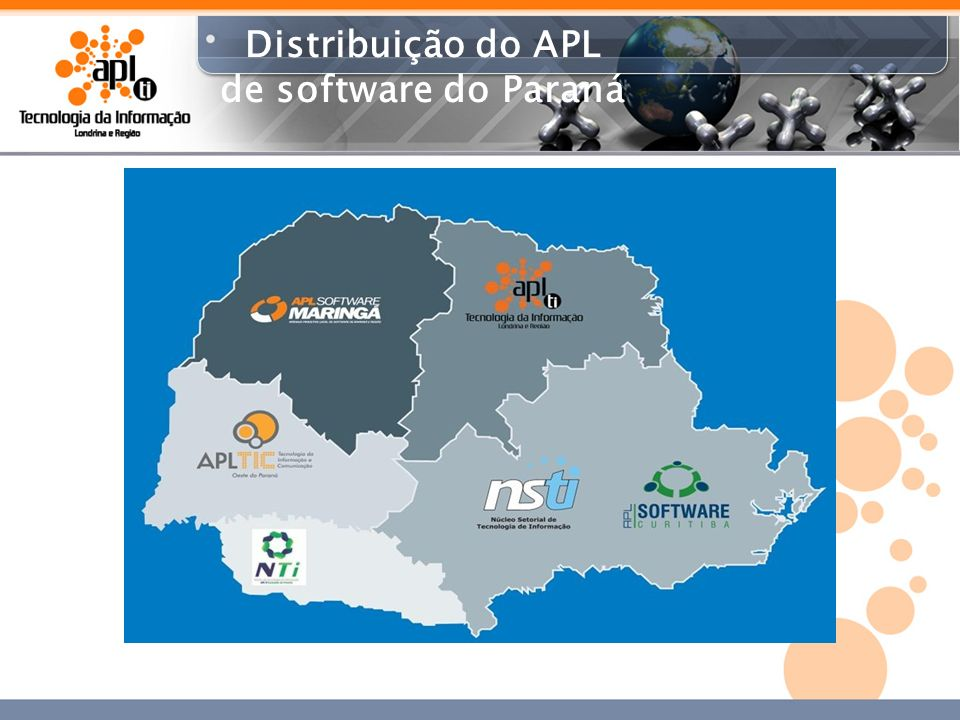 Distribuição do APL de software do Paraná