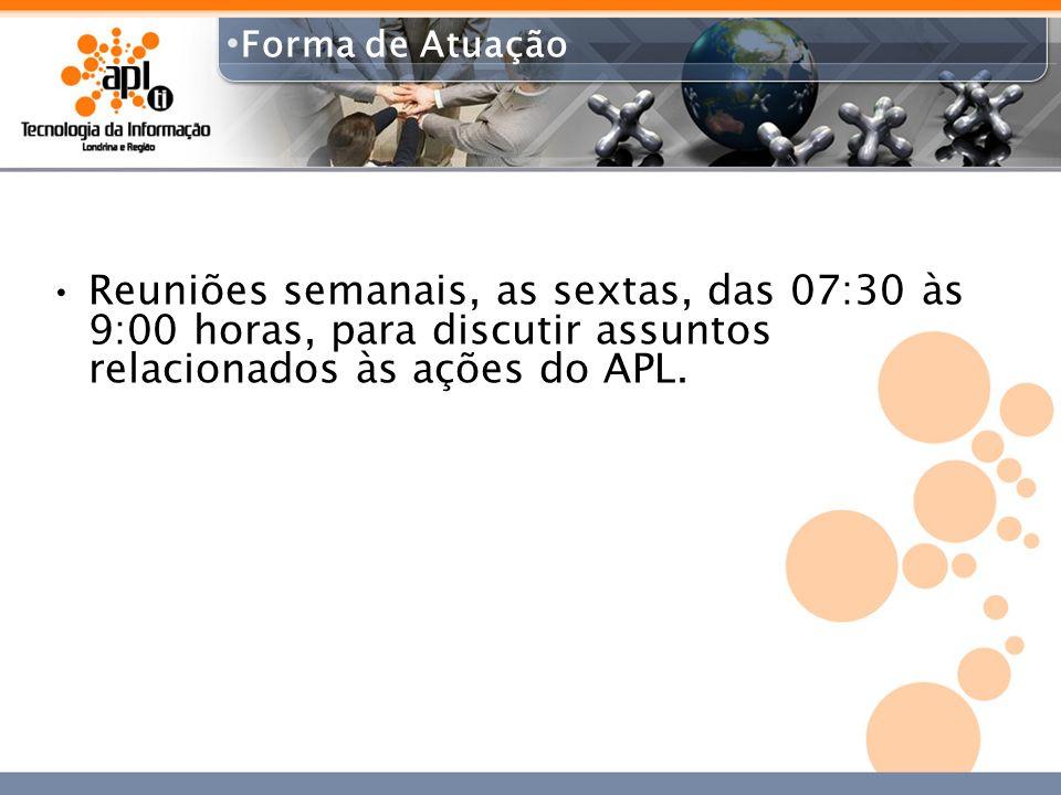 Forma de AtuaçãoReuniões semanais, as sextas, das 07:30 às 9:00 horas, para discutir assuntos relacionados às ações do APL.