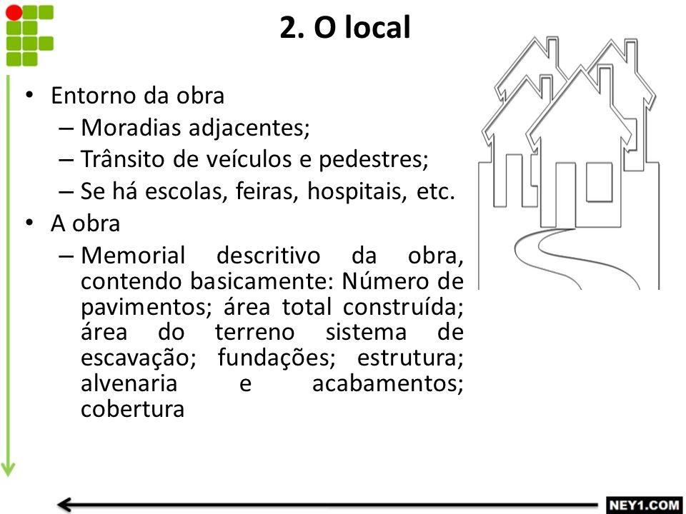 2. O local Entorno da obra Moradias adjacentes;