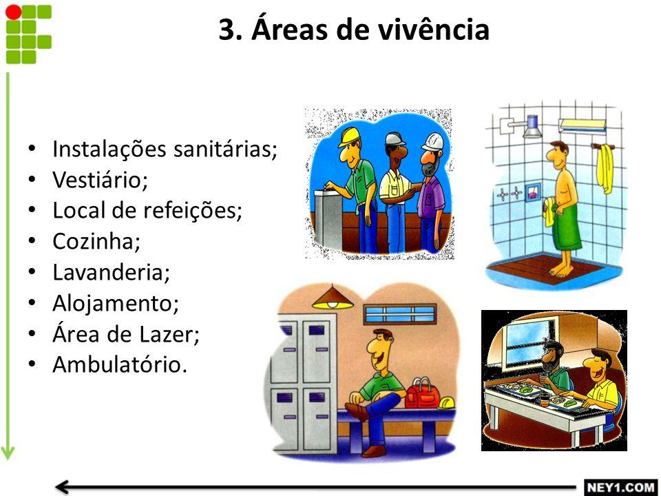 3. Áreas de vivência Instalações sanitárias; Vestiário;