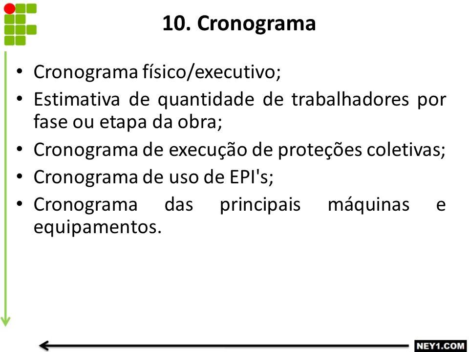 10. Cronograma Cronograma físico/executivo;