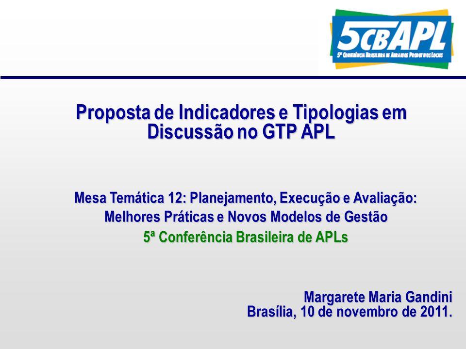 Proposta de Indicadores e Tipologias em Discussão no GTP APL