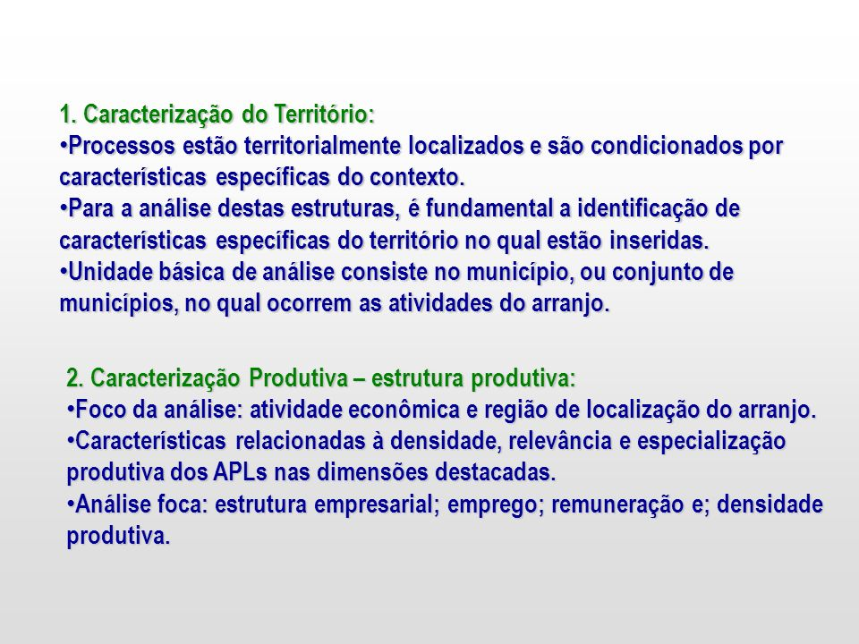 1. Caracterização do Território: