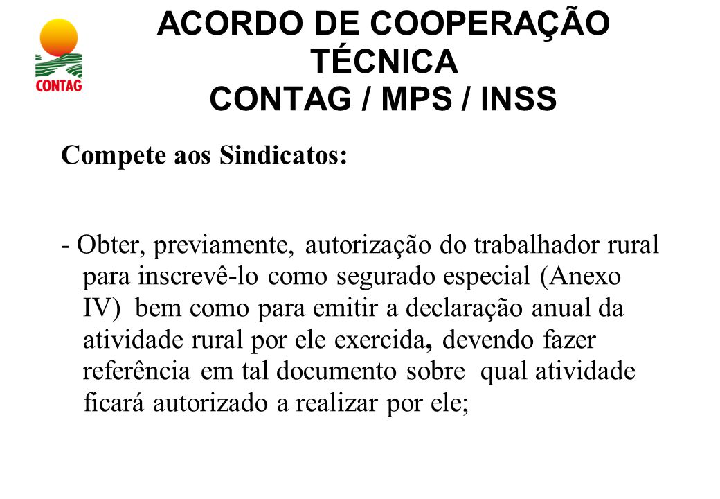 ACORDO DE COOPERAÇÃO TÉCNICA CONTAG / MPS / INSS