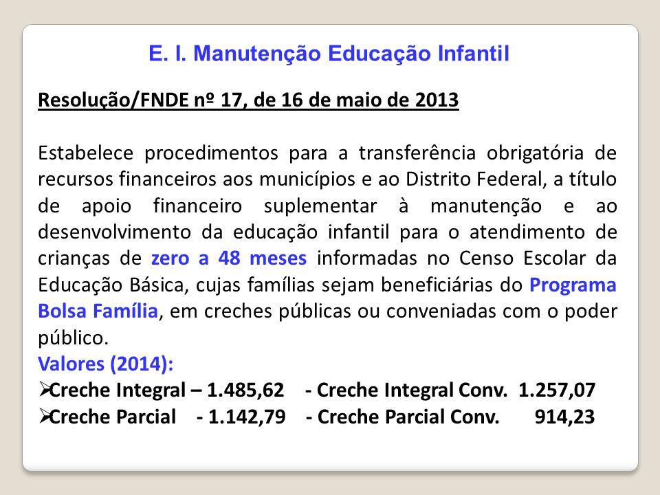 E. I. Manutenção Educação Infantil