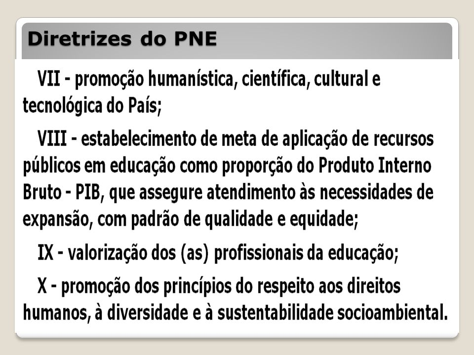 Diretrizes do PNE