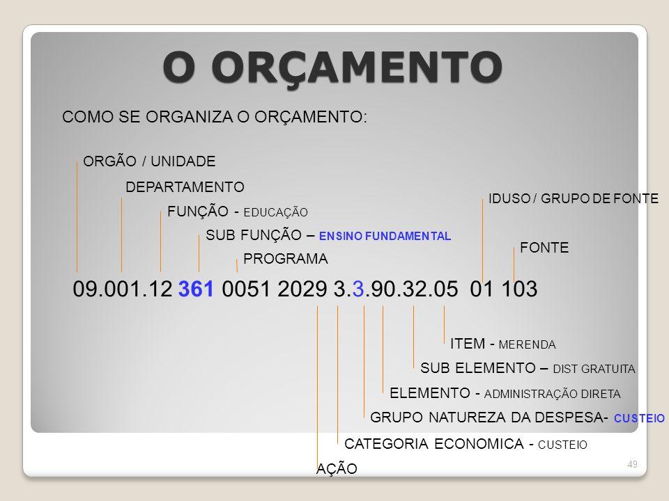 O ORÇAMENTO COMO SE ORGANIZA O ORÇAMENTO: ORGÃO / UNIDADE. DEPARTAMENTO. IDUSO / GRUPO DE FONTE.