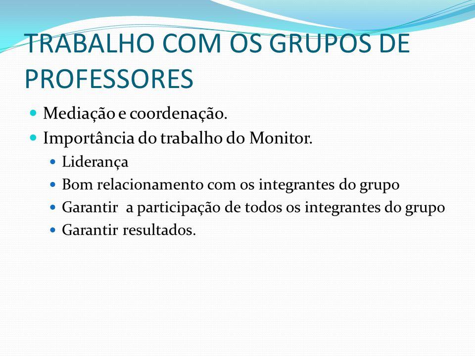 TRABALHO COM OS GRUPOS DE PROFESSORES