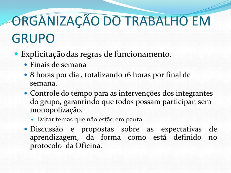 ORGANIZAÇÃO DO TRABALHO EM GRUPO