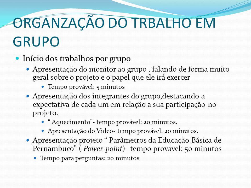 ORGANZAÇÃO DO TRBALHO EM GRUPO