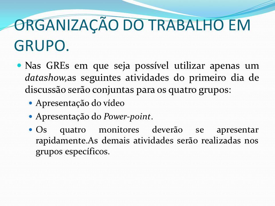 ORGANIZAÇÃO DO TRABALHO EM GRUPO.