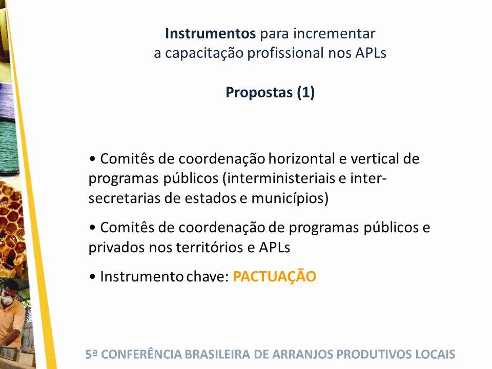 Instrumentos para incrementar a capacitação profissional nos APLs