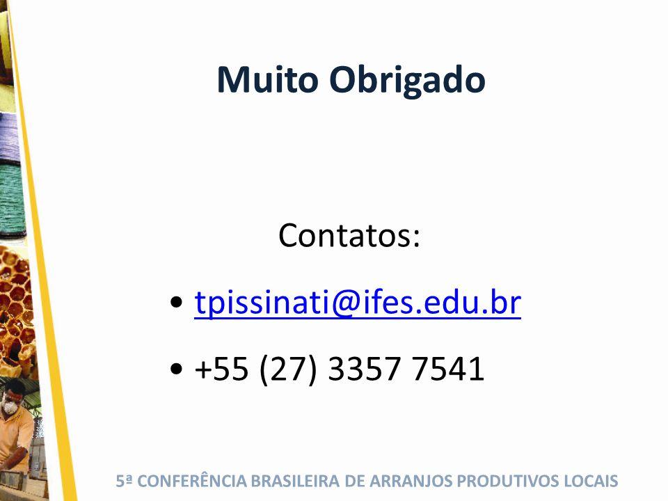 Muito Obrigado Contatos: tpissinati@ifes.edu.br +55 (27) 3357 7541
