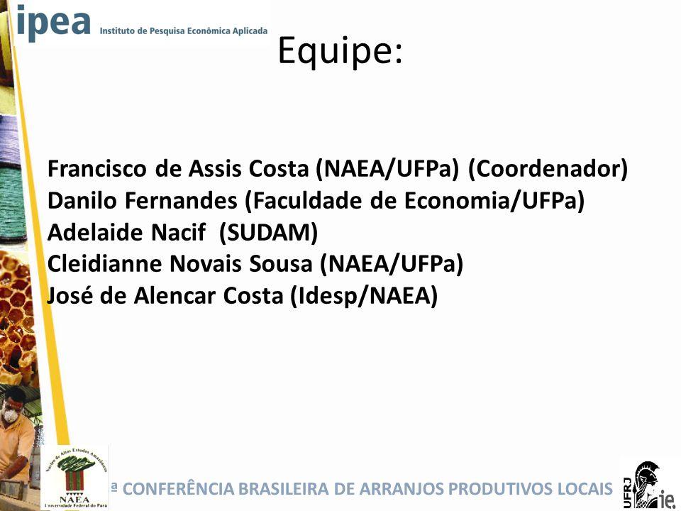 Equipe: Francisco de Assis Costa (NAEA/UFPa) (Coordenador)