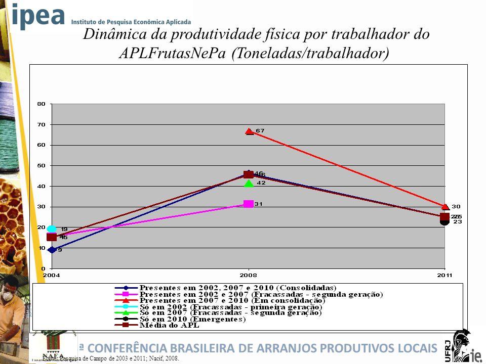 Dinâmica da produtividade física por trabalhador do APLFrutasNePa (Toneladas/trabalhador)