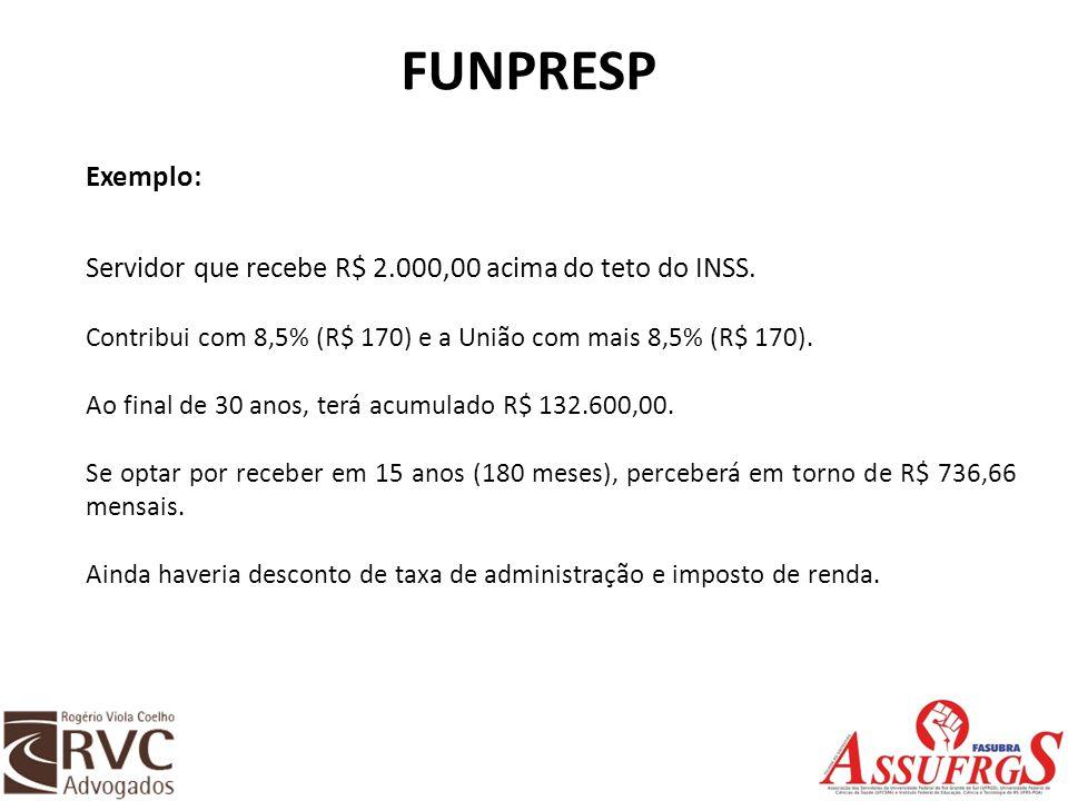 FUNPRESP Exemplo: Servidor que recebe R$ 2.000,00 acima do teto do INSS. Contribui com 8,5% (R$ 170) e a União com mais 8,5% (R$ 170).