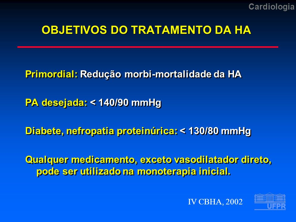 OBJETIVOS DO TRATAMENTO DA HA