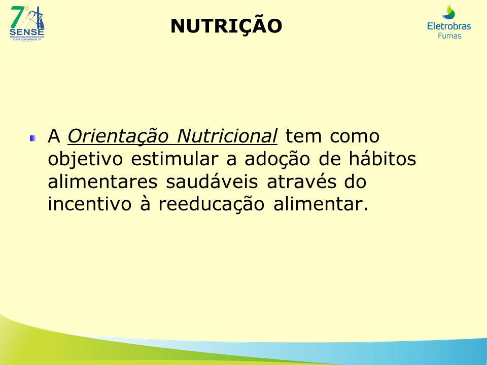 NUTRIÇÃO A Orientação Nutricional tem como objetivo estimular a adoção de hábitos alimentares saudáveis através do incentivo à reeducação alimentar.