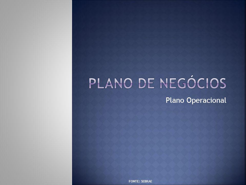 PLANO DE NEGÓCIOS Plano Operacional FONTE: SEBRAE