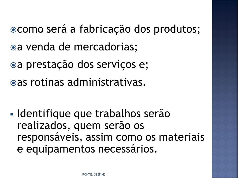 como será a fabricação dos produtos; a venda de mercadorias;