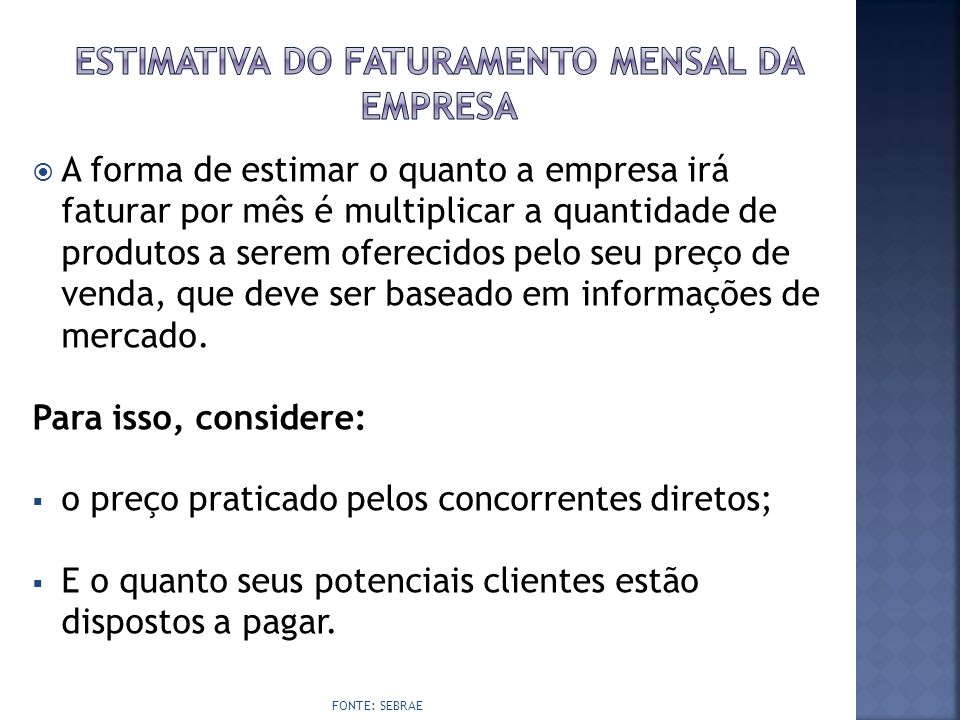Estimativa do faturamento mensal da empresa