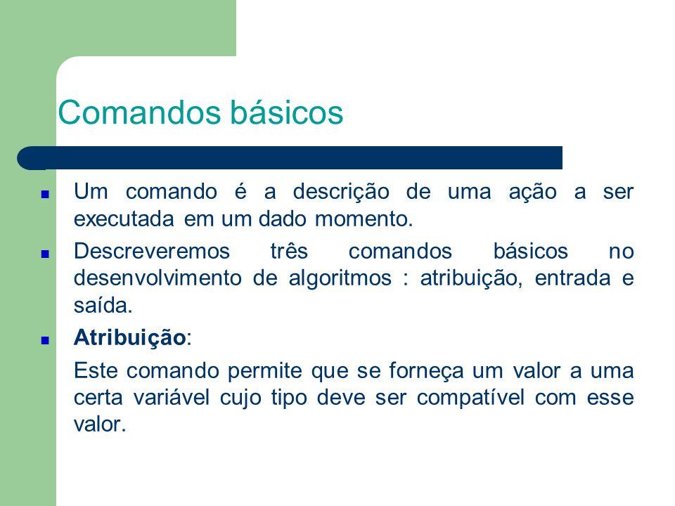 Comandos básicos Um comando é a descrição de uma ação a ser executada em um dado momento.