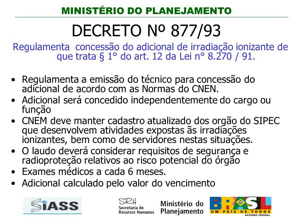 DECRETO Nº 877/93 Regulamenta concessão do adicional de irradiação ionizante de que trata § 1° do art. 12 da Lei n° 8.270 / 91.