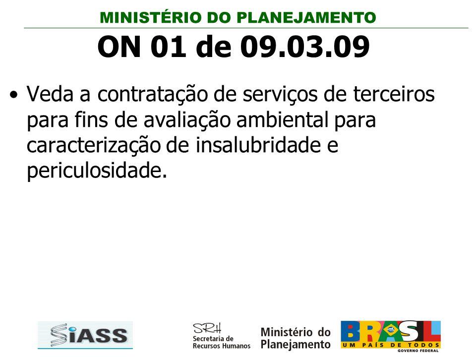 ON 01 de 09.03.09 Veda a contratação de serviços de terceiros para fins de avaliação ambiental para caracterização de insalubridade e periculosidade.