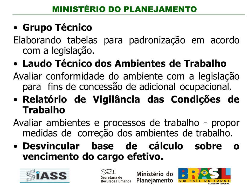 Grupo Técnico Elaborando tabelas para padronização em acordo com a legislação. Laudo Técnico dos Ambientes de Trabalho.