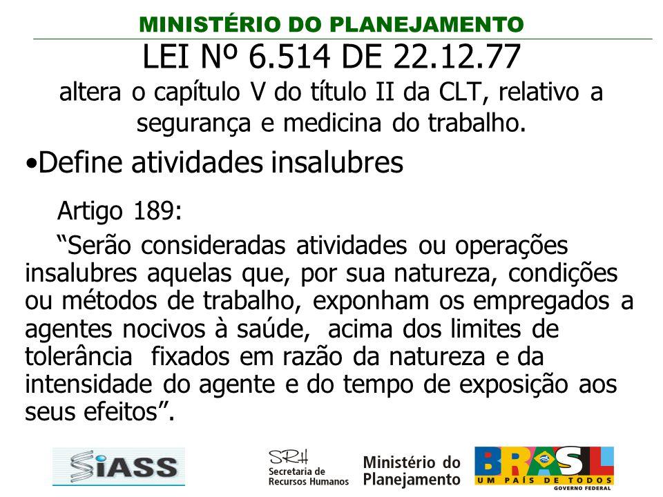 LEI Nº 6.514 DE 22.12.77 altera o capítulo V do título II da CLT, relativo a segurança e medicina do trabalho.