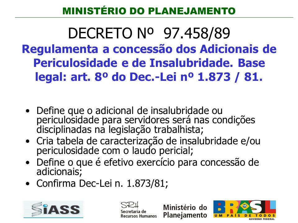 DECRETO Nº 97.458/89 Regulamenta a concessão dos Adicionais de Periculosidade e de Insalubridade. Base legal: art. 8º do Dec.-Lei nº 1.873 / 81.