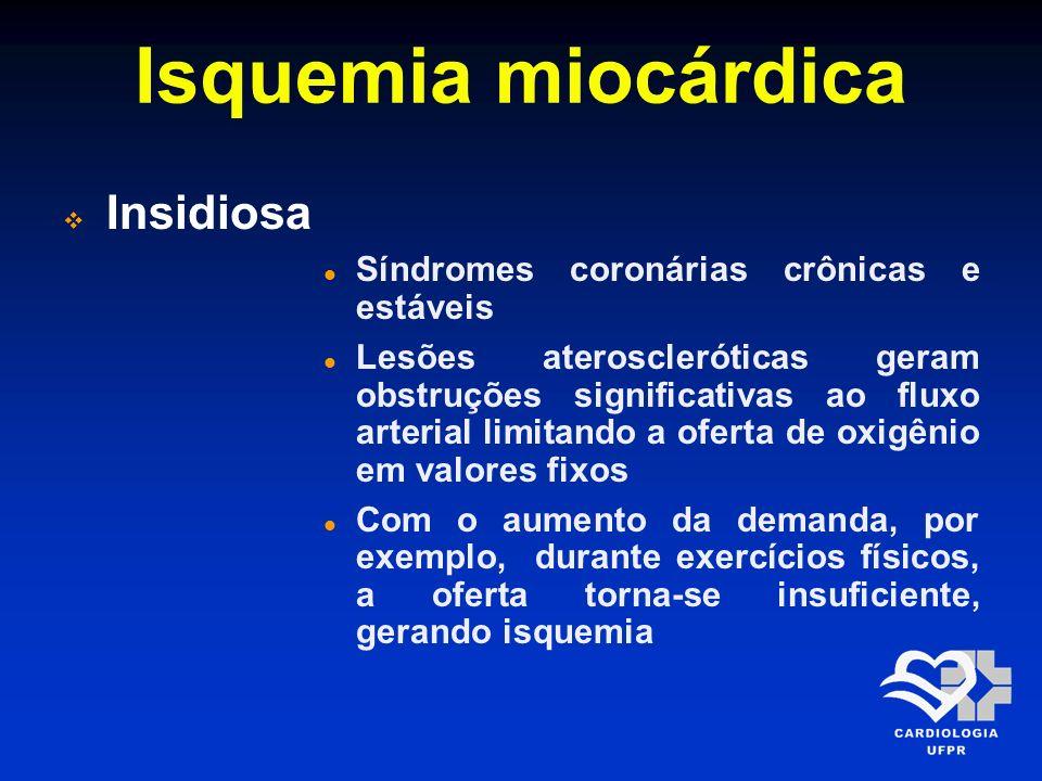 Isquemia miocárdica Insidiosa Síndromes coronárias crônicas e estáveis