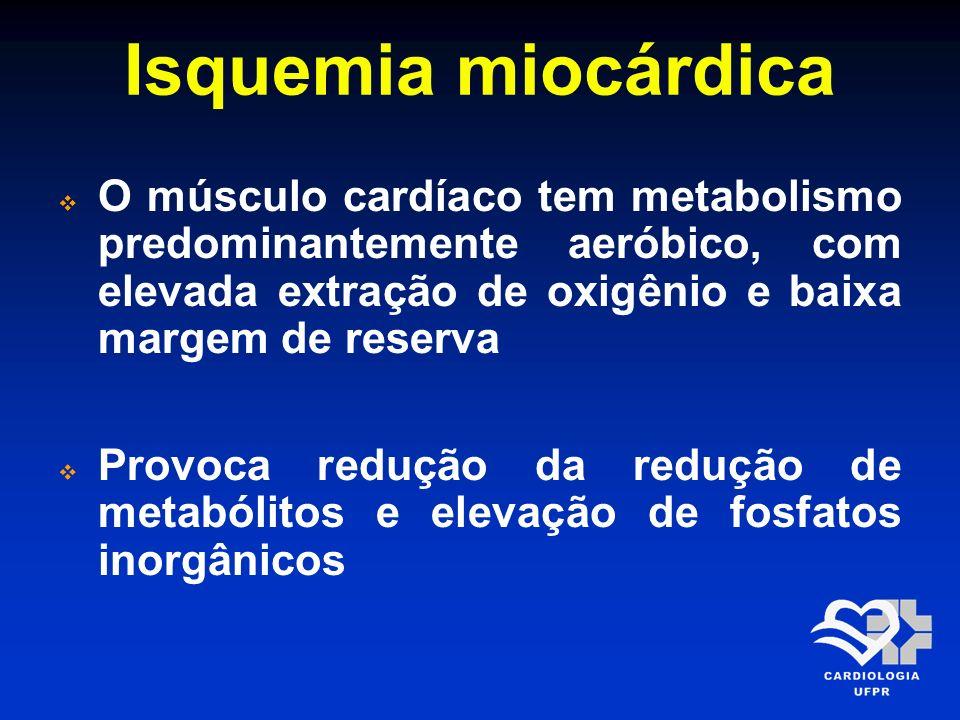 Isquemia miocárdica O músculo cardíaco tem metabolismo predominantemente aeróbico, com elevada extração de oxigênio e baixa margem de reserva.
