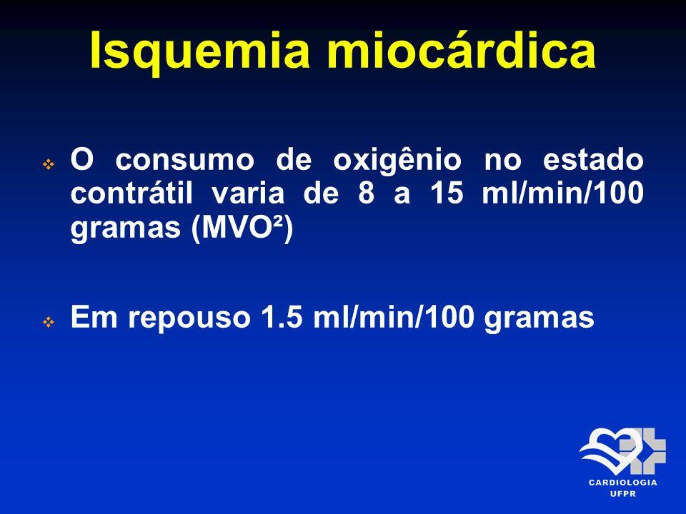 Isquemia miocárdica O consumo de oxigênio no estado contrátil varia de 8 a 15 ml/min/100 gramas (MVO²)