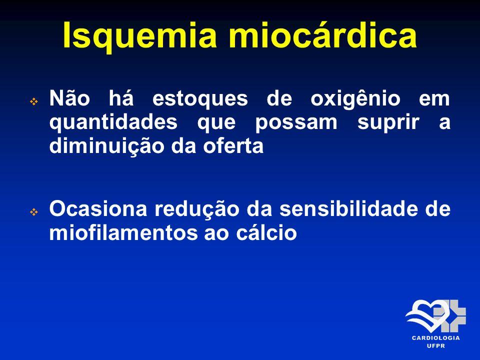 Isquemia miocárdica Não há estoques de oxigênio em quantidades que possam suprir a diminuição da oferta.