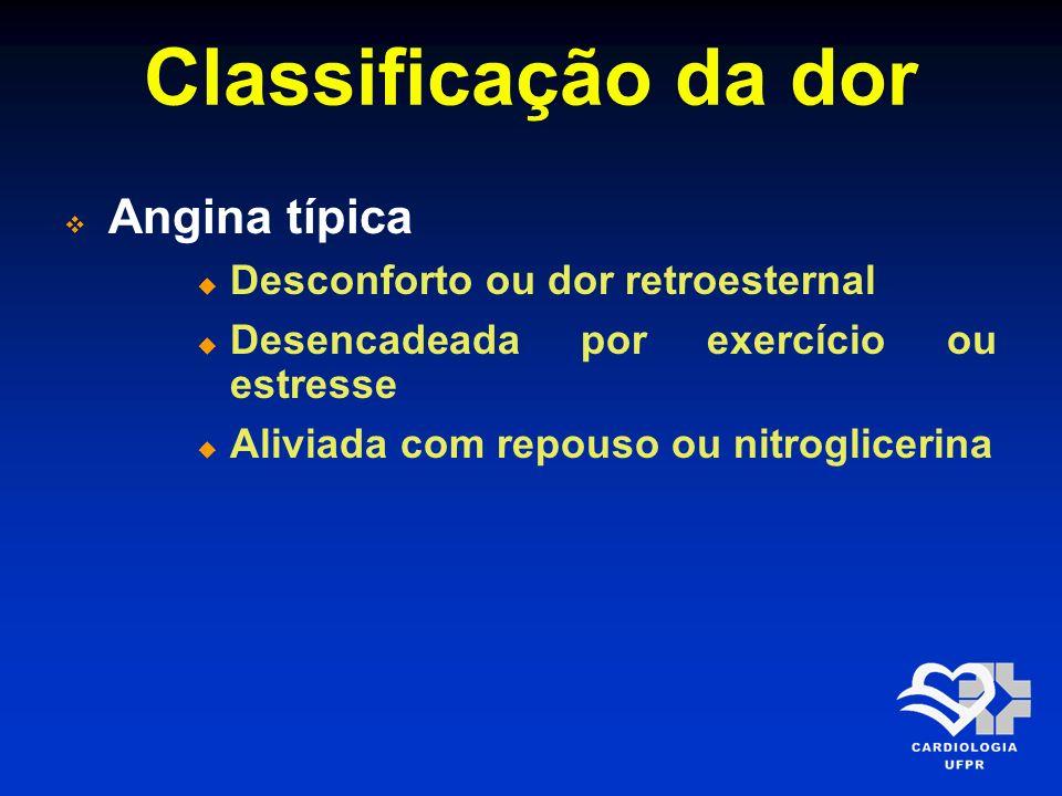 Classificação da dor Angina típica Desconforto ou dor retroesternal