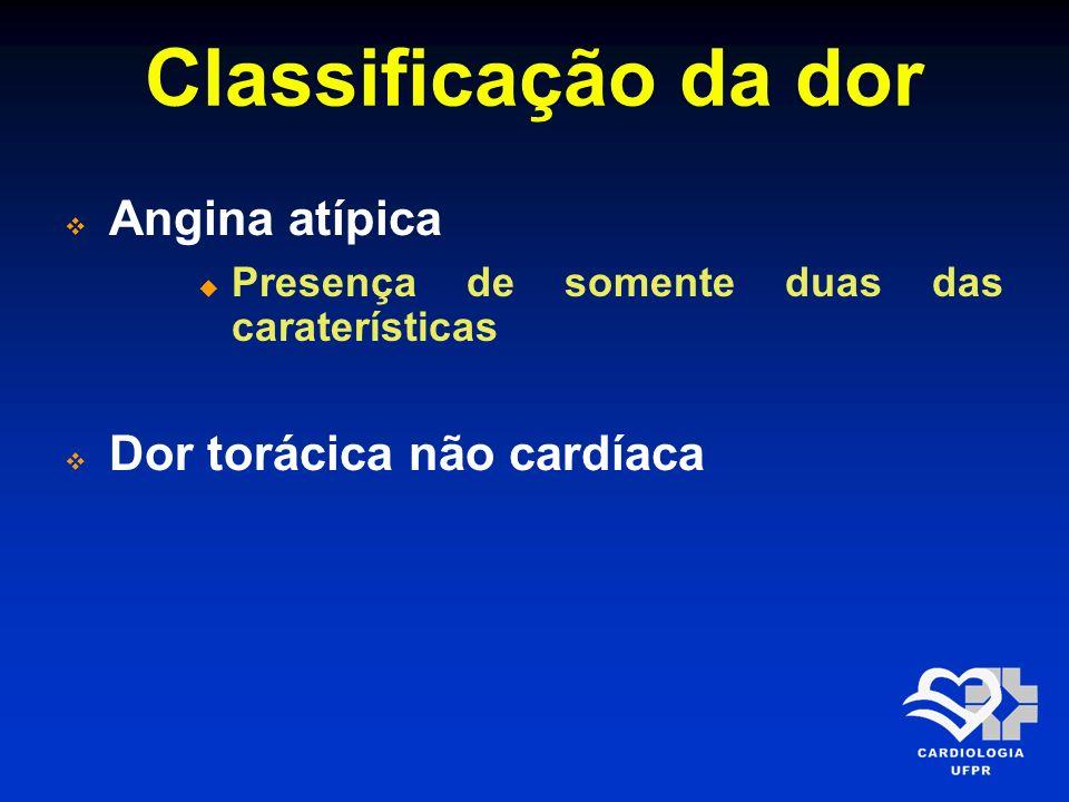 Classificação da dor Angina atípica Dor torácica não cardíaca