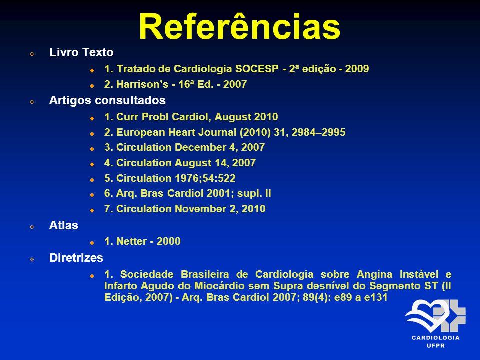 Referências Livro Texto Artigos consultados Atlas Diretrizes