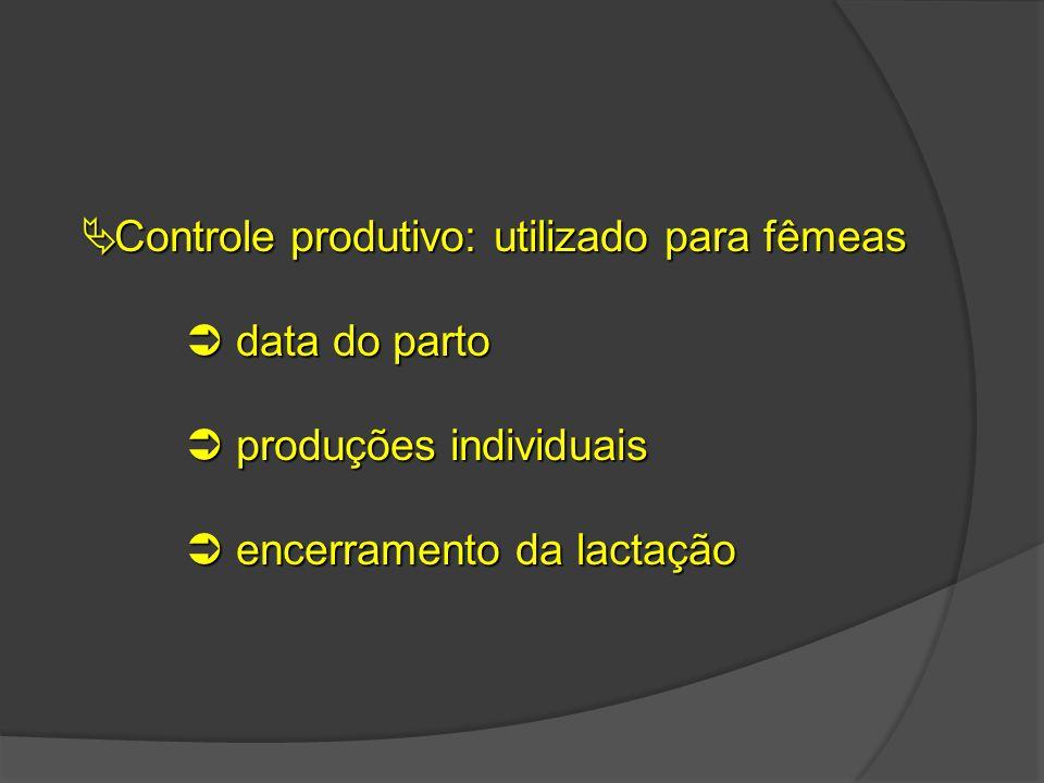 Controle produtivo: utilizado para fêmeas
