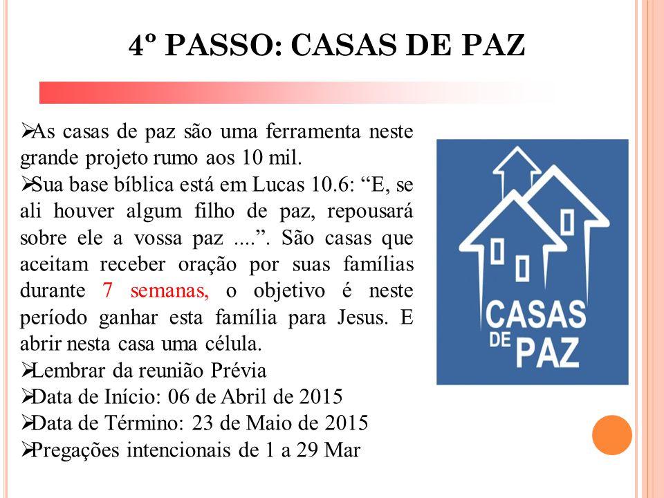 4º PASSO: CASAS DE PAZ As casas de paz são uma ferramenta neste grande projeto rumo aos 10 mil.