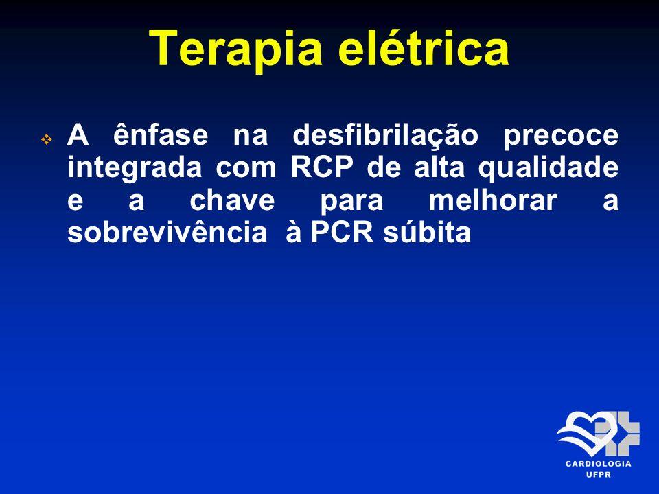 Terapia elétricaA ênfase na desfibrilação precoce integrada com RCP de alta qualidade e a chave para melhorar a sobrevivência à PCR súbita.