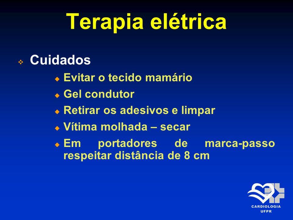 Terapia elétrica Cuidados Evitar o tecido mamário Gel condutor