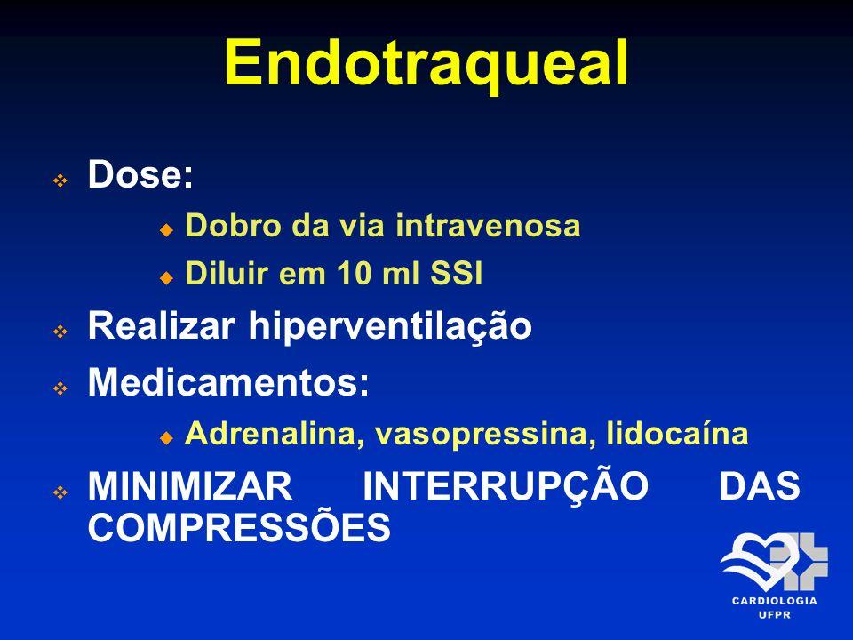 Endotraqueal Dose: Realizar hiperventilação Medicamentos: