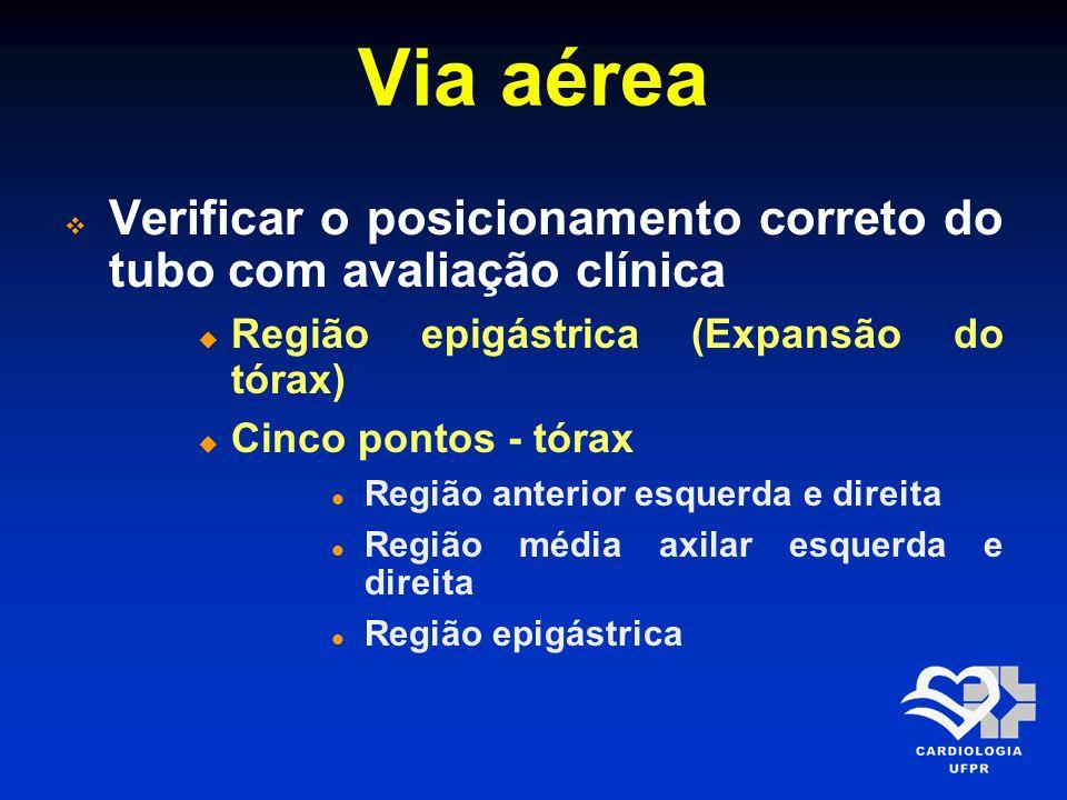 Via aérea Verificar o posicionamento correto do tubo com avaliação clínica. Região epigástrica (Expansão do tórax)