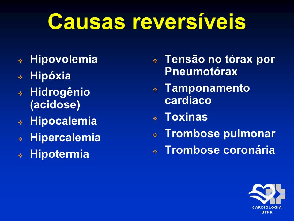 Causas reversíveis Hipovolemia Hipóxia Hidrogênio (acidose)