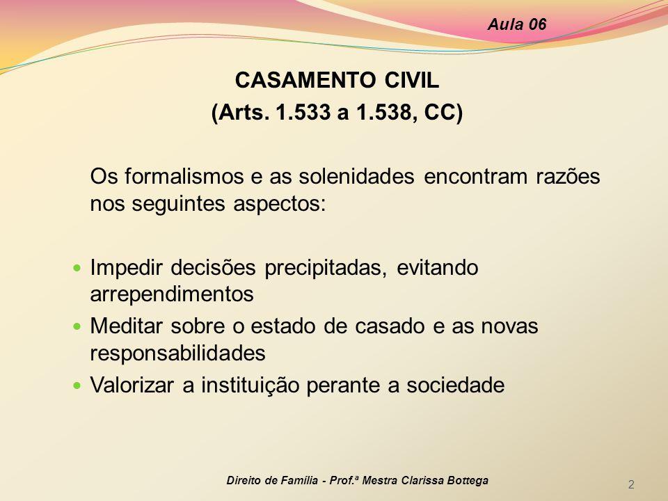 CASAMENTO CIVIL (Arts. 1.533 a 1.538, CC)