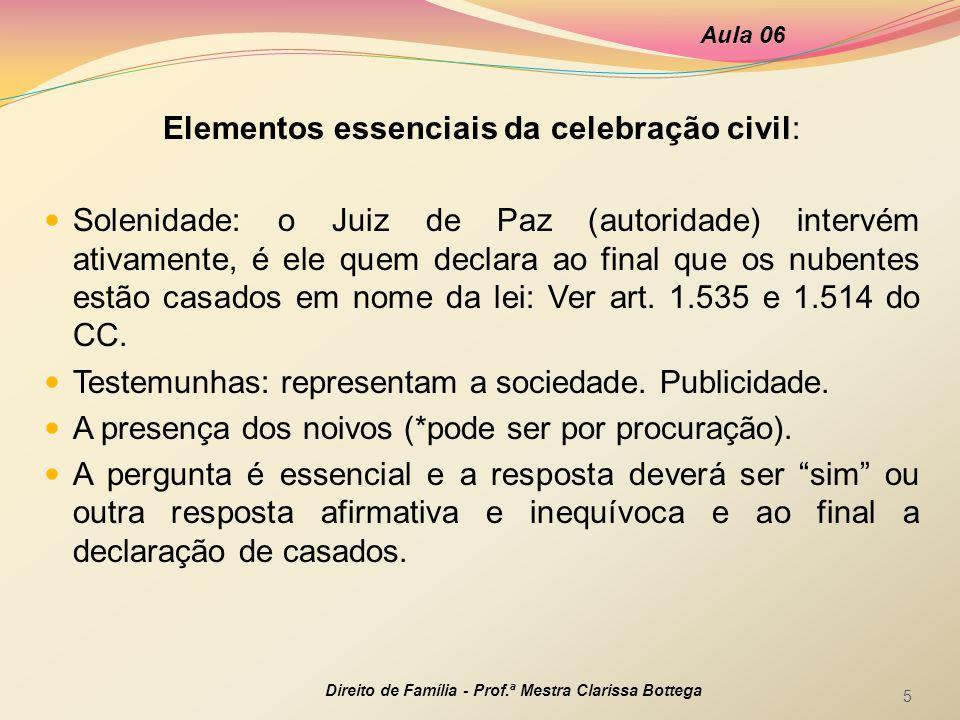 Elementos essenciais da celebração civil:
