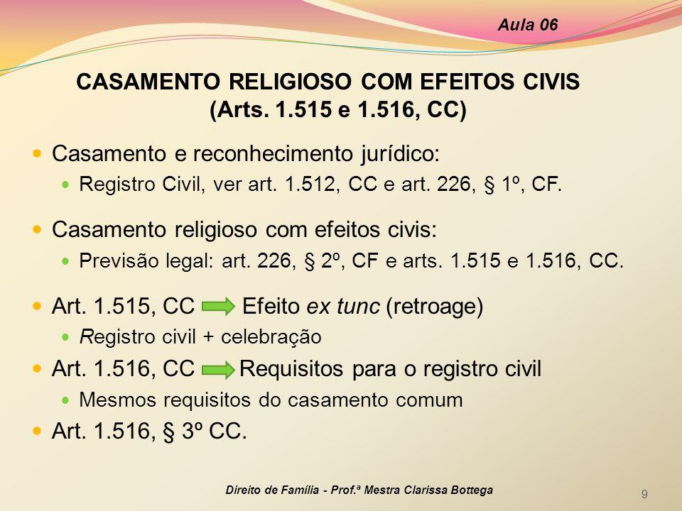 CASAMENTO RELIGIOSO COM EFEITOS CIVIS (Arts. 1.515 e 1.516, CC)