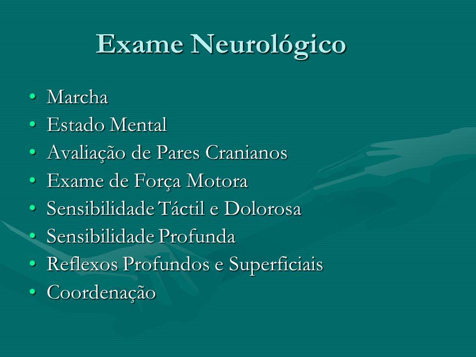 Exame Neurológico Marcha Estado Mental Avaliação de Pares Cranianos